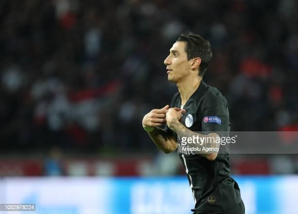 Angel Di Maria of Paris SaintGermain celebrates his score during the UEFA Champions League Group C soccer match between Paris Saint Germain and...