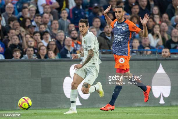 Angel Di Maria of Paris SaintGermain defended by Ellyes Skhiri of Montpellier during the Montpellier Vs Paris SaintGermain French Ligue 1 regular...