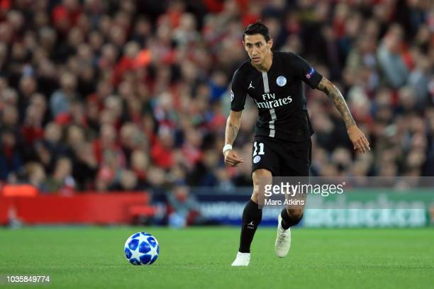 Angel Di Maria of Paris SaintGermain during the Group C match of the UEFA Champions League between Liverpool and Paris SaintGermain at Anfield on...