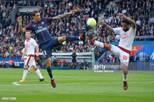 Angel Di Maria of Paris SaintGermain fights for the ball during the Ligue 1 match between Paris Saint Germain and FC Girondins de Bordeaux at Parc...