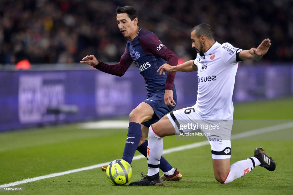 Angel Di Maria of Paris Saint-Germain fights for the ball during the Ligue 1 match between Paris Saint Germain and Dijon FCO at Parc des Princes on January 17, 2018 in Paris.