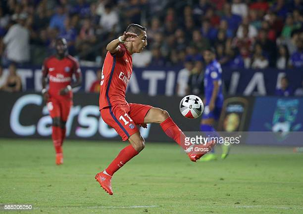 Angel Di Maria of Paris SaintGermain in action against Leicester City during the 2016 International Champions Cup at StubHub Center on July 30 2016...