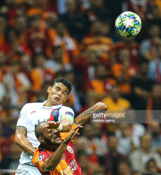 Angel Di Maria of Paris SaintGermain in action against Marcao of Galatasaray during the UEFA Champions League group A match between Galatasaray and...