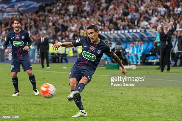 Angel Di Maria of Paris SaintGermain in action during the final French Cup between Paris SaintGermain and Olympique de Marseille at Stade de France...