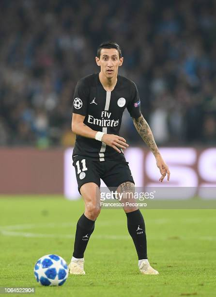 Angel Di Maria of Paris SaintGermain in action during the Group C match of the UEFA Champions League between SSC Napoli and Paris SaintGermain at...