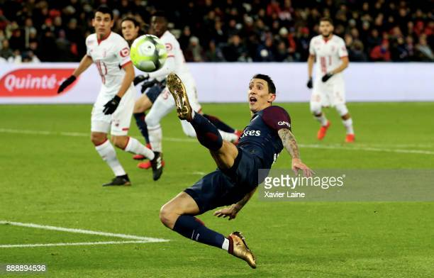 Angel Di Maria of Paris SaintGermain in action during the Ligue 1 match between Paris Saint Germain and Lille OSC at Parc des Princes on December 9...
