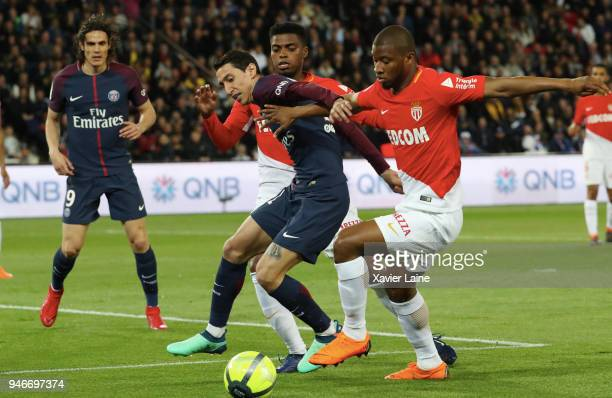Angel Di Maria of Paris SaintGermain in action during the Ligue 1 match between Paris Saint Germain and AS Monaco at Parc des Princes on April 15...