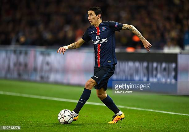 Angel Di Maria of Paris SaintGermain in action during the UEFA Champions League round of 16 first leg match between Paris SaintGermain and Chelsea at...