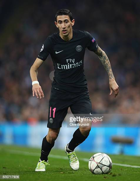 Angel Di Maria of Paris SaintGermain in action during the UEFA Champions League Quarter Final second leg match between Manchester City FC and Paris...