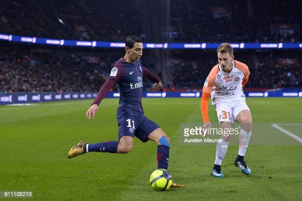 Angel Di Maria of Paris SaintGermain kicks the ball during the Ligue 1 match between Paris Saint Germain and Montpellier Herault SC at Parc des...