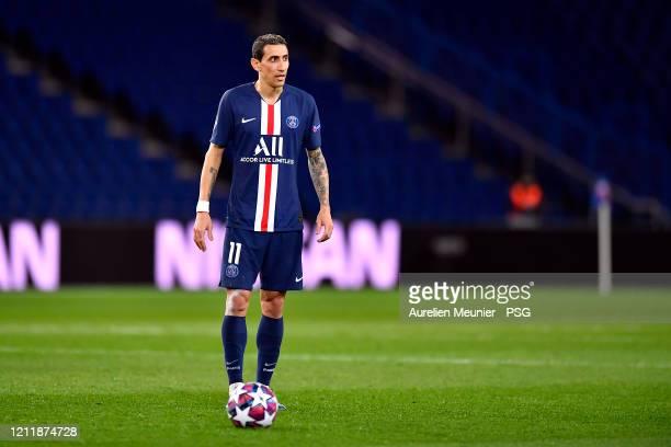 Angel Di Maria of Paris Saint-Germain looks on during the UEFA Champions League round of 16 second leg match between Paris Saint-Germain and Borussia...