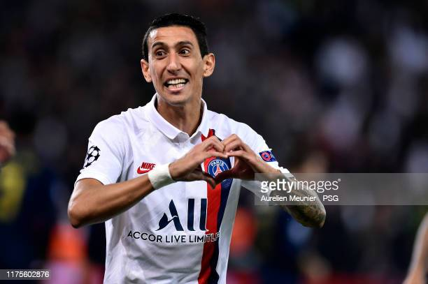 Angel Di Maria of Paris Saint-Germain reacts after scoring during the UEFA Champions League group A match between Paris Saint-Germain and Real Madrid...