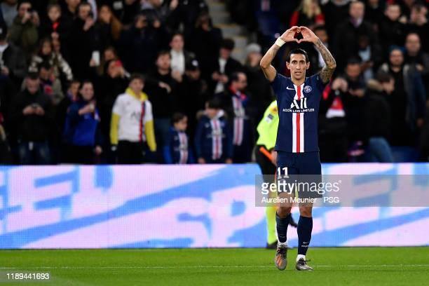 Angel Di Maria of Paris SaintGermain reacts after scoring during the Ligue 1 match between Paris SaintGermain and Lille OSC at Parc des Princes on...