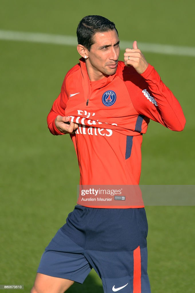 Angel Di Maria of Paris Saint-Germain reacts as he arrives for a Paris Saint-Germain training session at Centre Ooredoo on October 12, 2017 in Paris, France.