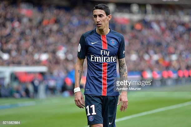 Angel Di Maria of Paris SaintGermain reacts during the Ligue 1 game between Paris SaintGermain and SM Caen at Parc des Princes on April 16 2016 in...