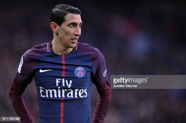 Angel Di Maria of Paris SaintGermain reacts during the Ligue 1 match between Paris Saint Germain and Montpellier Herault SC at Parc des Princes on...
