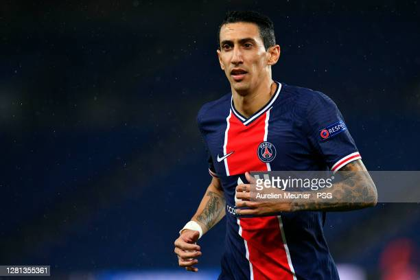 Angel Di Maria of Paris Saint-Germain reacts during the UEFA Champions League Group H stage match between Paris Saint-Germain and Manchester United...