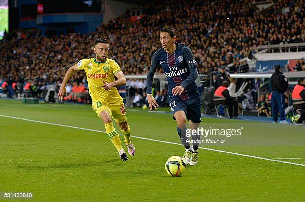 Angel Di Maria of Paris SaintGermain runs with the ball during the Ligue 1 game between Paris SaintGermain and FC Nantes at Parc des Princes on May...