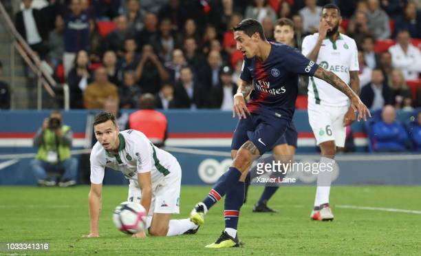 Angel Di Maria of Paris SaintGermain scores a goal during the French Ligue 1 match between Paris Saint Germain and AS Saint Etienne on September 14...