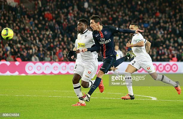 Angel Di Maria of Paris SaintGermain scores his second goal during the French Ligue 1 between Paris SaintGermain and SCO Angers at Parc Des Princes...