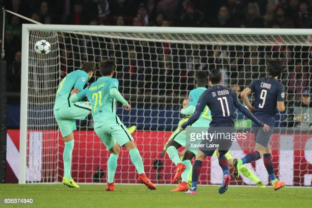 PARIS FRANCE FEBRUARY Angel Di Maria of Paris SaintGermain scores his second goal during the UEFA Champions League Round of 16 first leg match...