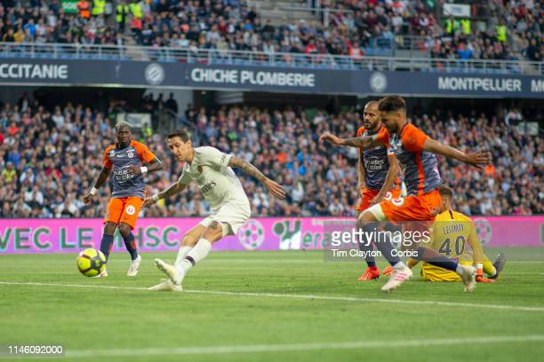 Angel Di Maria of Paris SaintGermain scores his sides second goal during the Montpellier Vs Paris SaintGermain French Ligue 1 regular season match at...