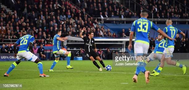 Angel Di Maria of Paris SaintGermain scores his team's second goal during the Group C match of the UEFA Champions League between Paris SaintGermain...