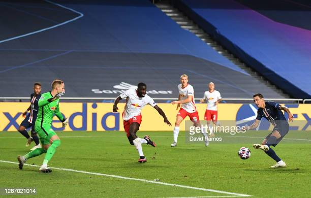Angel Di Maria of Paris Saint-Germain scores his team's second goal during the UEFA Champions League Semi Final match between RB Leipzig and Paris...