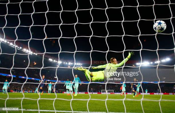 Angel Di Maria of Paris Saint-Germain scores his team's third goal past Marc-Andre ter Stegen of Barcelona during the UEFA Champions League Round of...