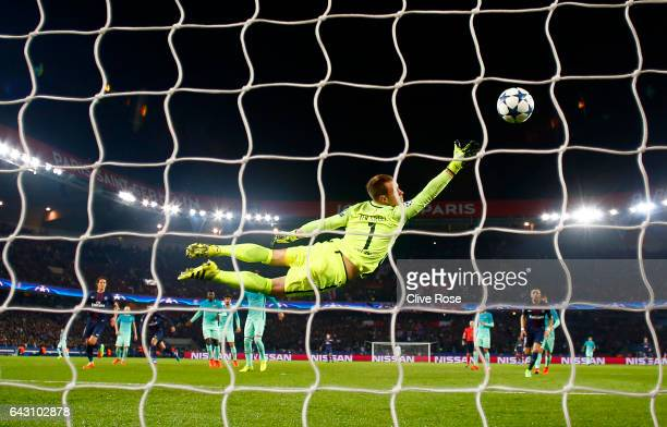 Angel Di Maria of Paris SaintGermain scores his team's third goal past MarcAndre ter Stegen of Barcelona during the UEFA Champions League Round of 16...