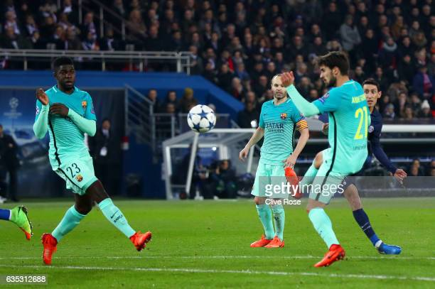 Angel Di Maria of Paris SaintGermain scores his team's third goal during the UEFA Champions League Round of 16 first leg match between Paris...