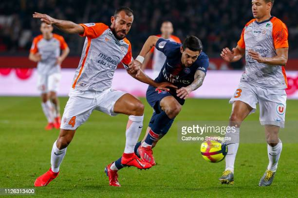 Angel Di Maria of Paris SaintGermain tries to control the ball against Vitorino Hilton of Montpellier Herault SC during the Ligue 1 game between...