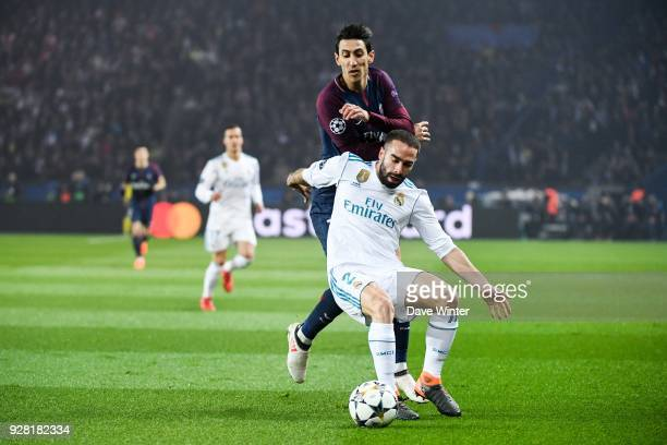 Angel Di Maria of PSG and Dani Carvajal of Real Madrid during the UEFA Champions League Round of 16 Second Leg match between Paris Saint Germain and...