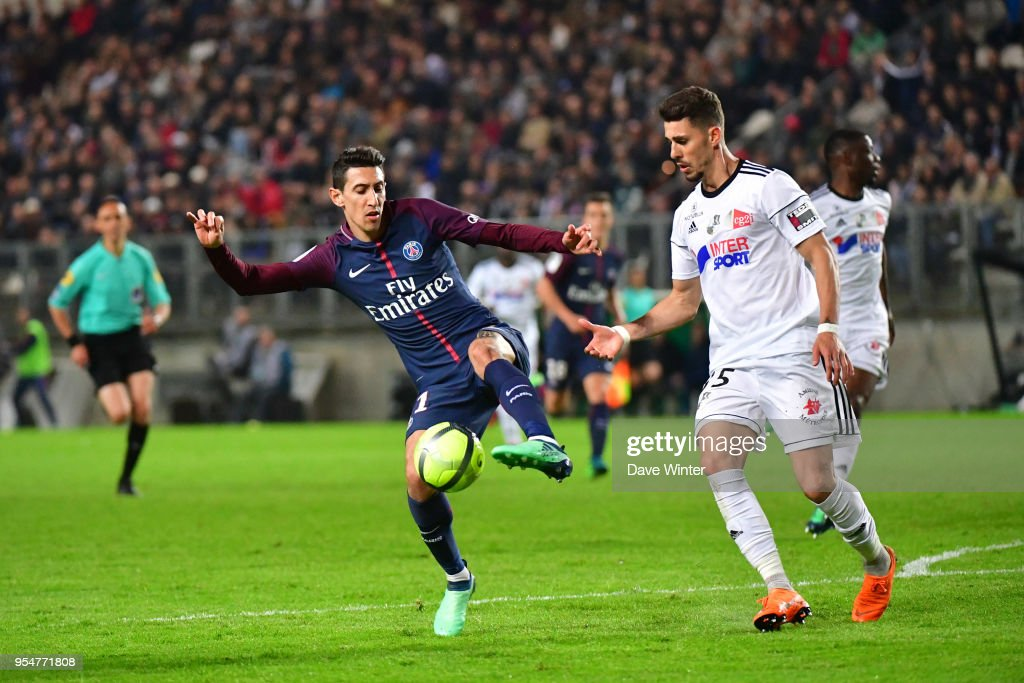 Angel Di Maria of PSG and Danilo Fernando Avelar of Amiens during the Ligue 1 match between Amiens SC and Paris Saint Germain at Stade de la Licorne on May 4, 2018 in Amiens, .