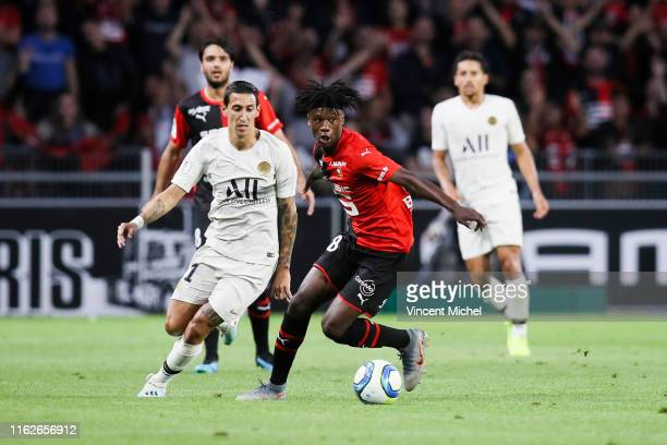 Angel Di Maria of Psg and Eduardo Camavinga of Rennes during the Ligue 1 match between Stade Rennes and Paris SaintGermain at Roazhon Park on August...