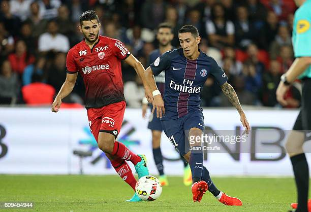 Angel Di Maria of PSG and Mehdi Abeid of Dijon in action during the French Ligue 1 football match between Paris SaintGermain and Dijon FCO at Parc...