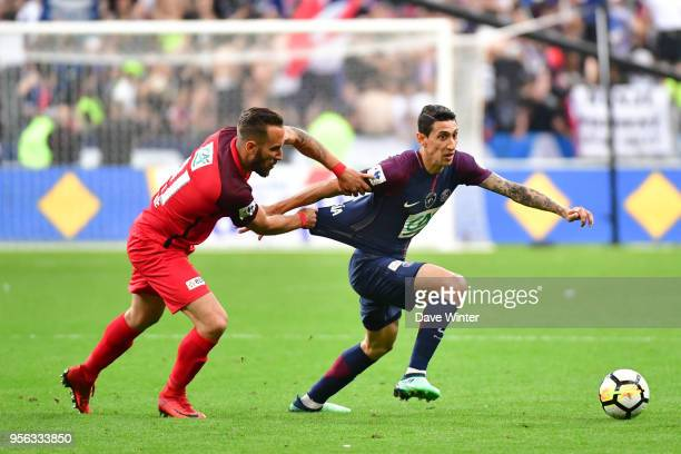 Angel Di Maria of PSG and Romauld Marie of Les Herbiers during the French Cup Final between Les Herbiers and Paris Saint Germain at Stade de France...