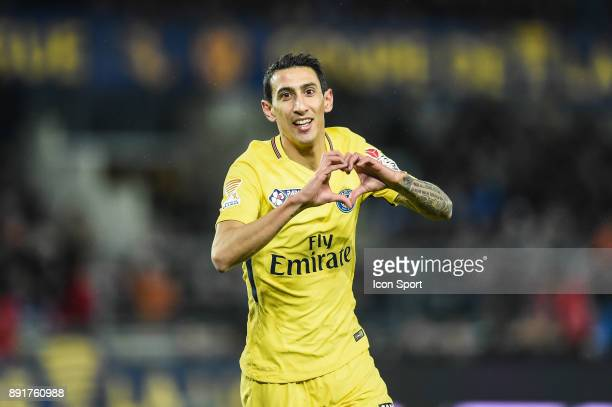 Angel di Maria of PSG celebrate his goal during the french League Cup match Round of 16 between Strasbourg and Paris Saint Germain on December 13...