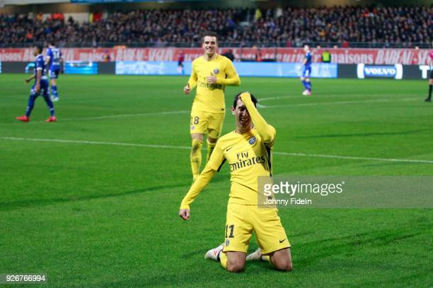 Angel di Maria of PSG celebrate his goal during the Ligue 1 match between Troyes AC and Paris Saint Germain at Stade de l'Aube on March 3 2018 in...
