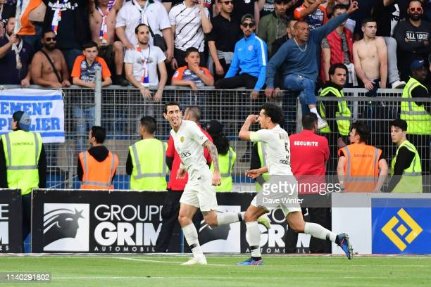 Angel Di Maria of PSG celebrates after putting his side 21 ahead during the Ligue 1 match between Montpellier and Paris Saint Germain on April 30...
