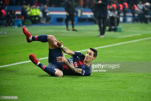 Angel Di Maria of PSG celebrates after putting his side 31 ahead during the Ligue 1 match between Paris Saint Germain and Marseille at Parc des...