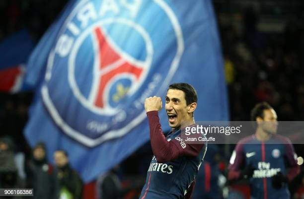Angel Di Maria of PSG celebrates his first goal during the French Ligue 1 match between Paris Saint Germain and Dijon FCO at Parc des Princes stadium...