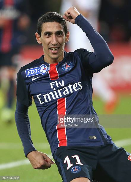 Angel Di Maria of PSG celebrates his goal during the French League Cup match between Paris SaintGermain and Toulouse FC on January 27 2016 in Paris...
