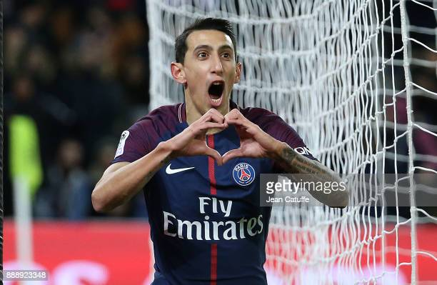 Angel Di Maria of PSG celebrates his goal during the French Ligue 1 match between Paris Saint Germain and Lille OSC at Parc des Princes on December 9...