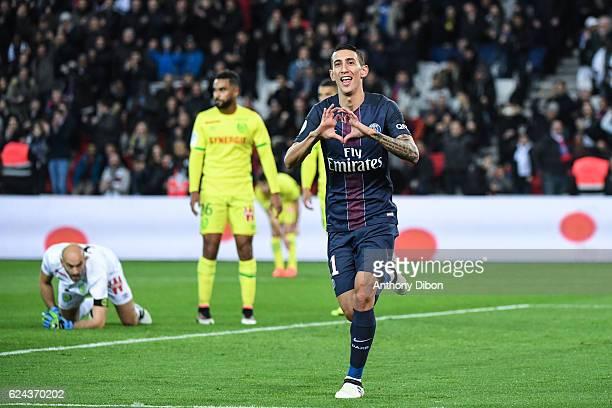 Angel Di Maria of PSG celebrates his goal during the Ligue 1 match between Paris Saint Germain PSG and Fc Nantes at Parc des Princes on November 19...