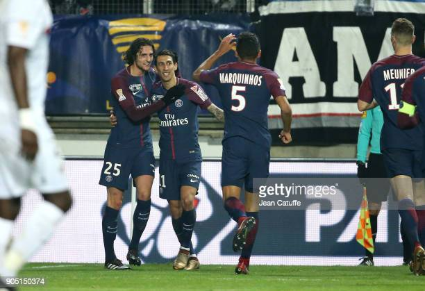 Angel Di Maria of PSG celebrates his goal with Adrien Rabiot Marquinhos during the French Ligue 1 match between FC Nantes and Paris Saint Germain at...