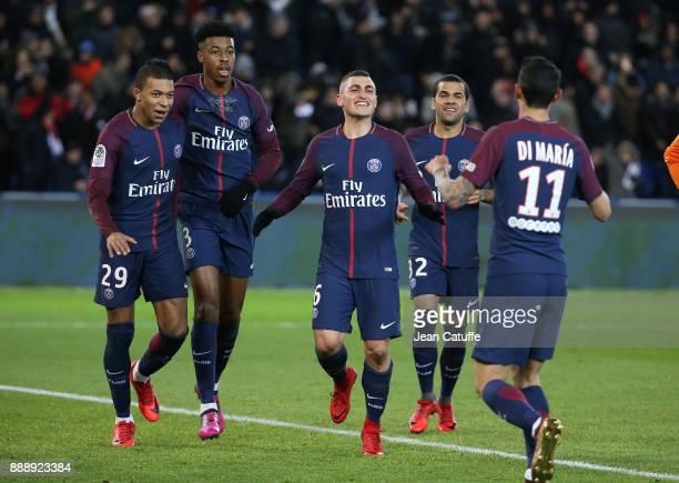 Angel Di Maria of PSG celebrates his goal with Kylian Mbappe Presnel Kimpembe Marco Verratti Dani Alves aka Daniel Alves during the French Ligue 1...