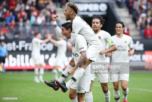 Angel Di Maria of PSG celebrates his goal with Neymar Jr Marquinhos Edinson Cavani during the french Ligue 1 match between Stade Rennais FC and Paris...
