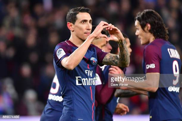 Angel Di Maria of PSG celebrates putting his side 10 ahead during the Ligue 1 match between Paris Saint Germain and Lille OSC at Parc des Princes on...