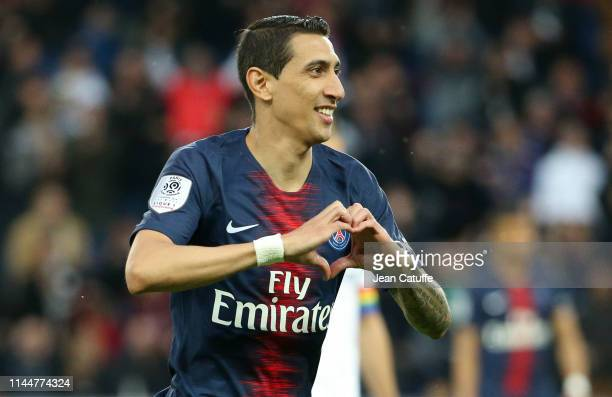 Angel Di Maria of PSG celebrates scoring the first goal of his team during the French Ligue 1 match between Paris SaintGermain and Dijon FCO at Parc...
